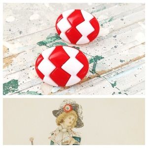 Vintage Earrings Retro White and Red